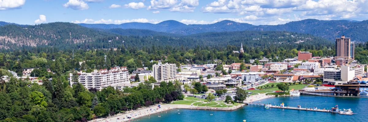 Coeur d'Alene, Idaho aerial view of the city and lake